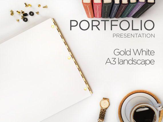 Portfolio White Glossy A3 Landscape with Gold Hinges - Portfolio Book Case A3 Portfolio Presentation book Screw Post Portfolio Cover