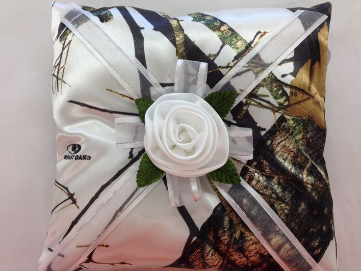 winter and white rose pillow available in all camo patterns