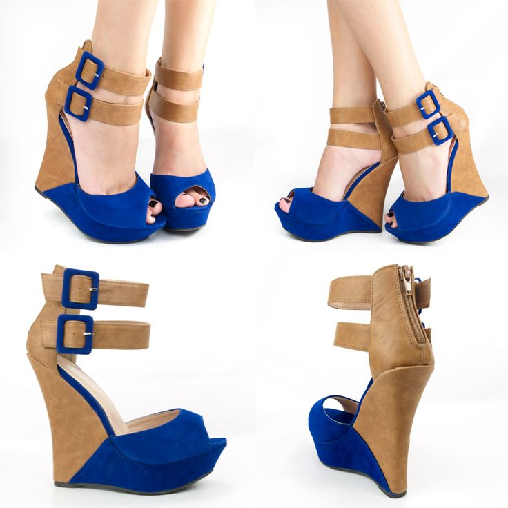 heel: Pretty Shoes, Blue Wedges, Heels Platform, Pumps Sandals, Royals Blue, Wedges Pumps, High Heels, Normal Style, Bicolor Wedges