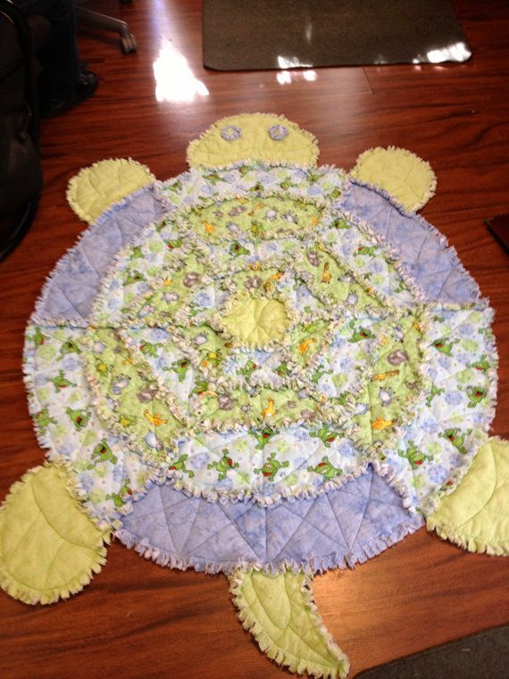 Blue and Green Turtle Rag Quilt! This would make a cute baby quilt or rug for a kids room :)