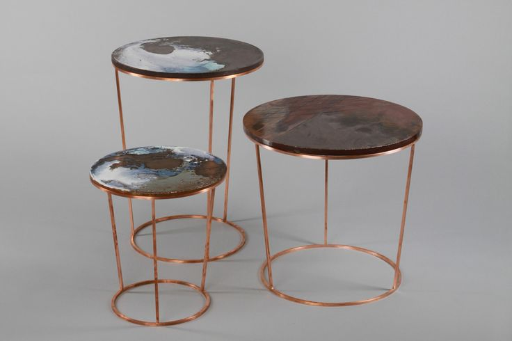 Ceramic-tables Designer: Elisa Strozyk Materials: cordierite, ceramic glazes, steel / copper