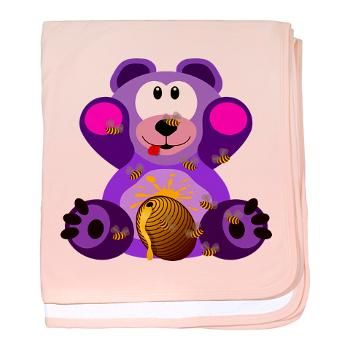 FMS Bear with Honey Bees baby blanket