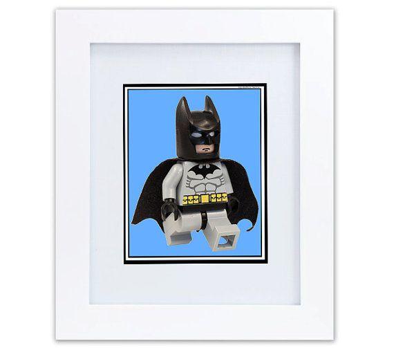 batman art lego photography print wall art room decor kid - Brick Kids Room Decor