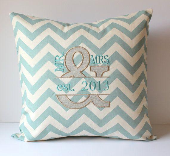 Mr & Mrs Applique Monogram Pillow Cover - Ampersand - Chevron - Custom - Linen - Anniversary - Personalized - Wedding Bridal - 18 x 18