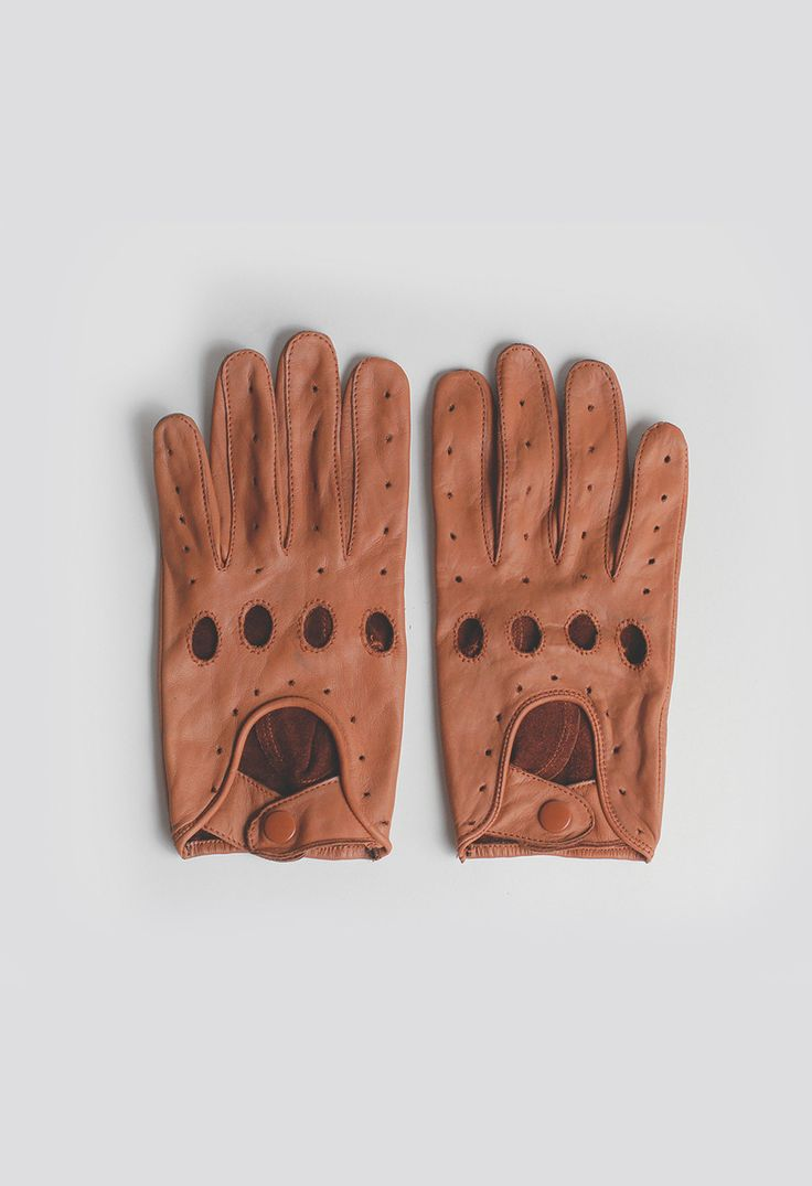Shorty leather driving gloves fingerless - Genuine Leather Full Driving Gloves In Tan Leather