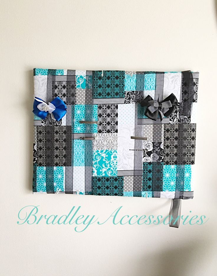 "Blue Hair Bow Holder~ Blue Pattern Hair Bow Organizer, Hair Accesories Organizer,  Hair Tie Organizer, Rose Hair Bow Holder 14""x18"" by BradleyAccessories on Etsy https://www.etsy.com/listing/241218978/blue-hair-bow-holder-blue-pattern-hair"