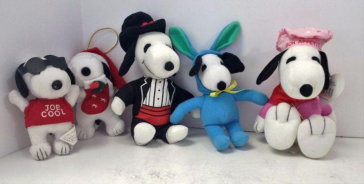 Peanuts Snoopy 5 Plush Stuffed lot Easter Valentine Christmas Joe Cool Tuxedo
