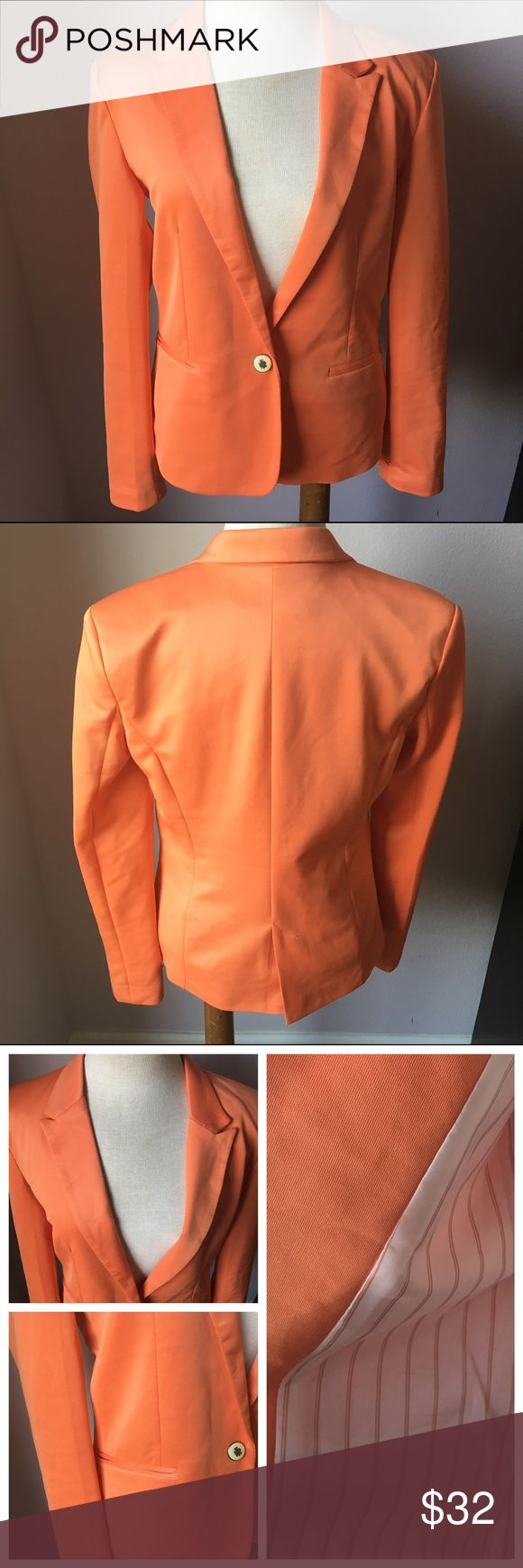 ZARA Basic Orange Lined Single Button Blazer Sz S Great condition. Super cute! Bundle & Save 😊 Zara Jackets & Coats Blazers
