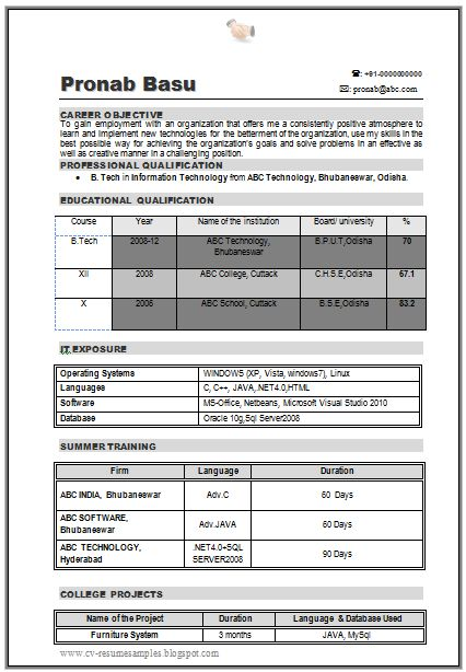b tech it resume sample for fresher  1