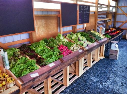 farm stand display for CSA pick up