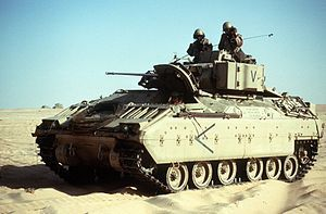 Bradley Fighting Vehicle.  The BFV is designed to provide armored protection to a group of soldiers or scouts.  The vehicle provides fire support with a rapid-fire 25mm cannon and anti-tank capability with a TOW missile system. It was designed to be fast enough to maintain formations with the M1A1 Abrams. The BFV performed well in the Gulf War, but proved vulnerable to IEDs in the Iraq War.