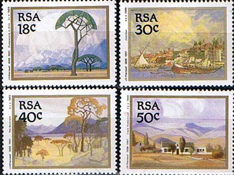 South Africa 1988 1989 Jacob Hendrik Pierneef Paintings Set Fine Mint SG 689 92 Scott 774 7 Condition Fine MNH Only
