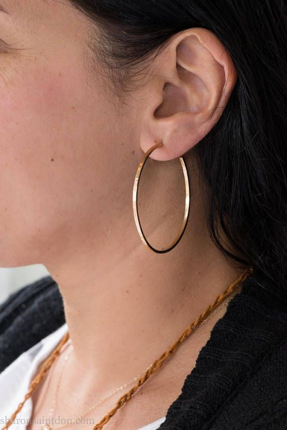 50mm Handmade Solid 14k Yellow Gold Hoop Earrings Available In Custom Sizes And Rose White 18k 22k With Locking Backs Jewelry I Make