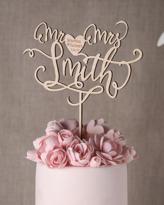 Kundenspezifische Rustikale Holz Hochzeit Kuchen-Deckel Cake Topper - Tortenfigur Ideal für den Outdoor Rustikale Hochzeit ! Cake topper/Tortenfigur Namen Hochzeitsdatum personalisiert Kann...