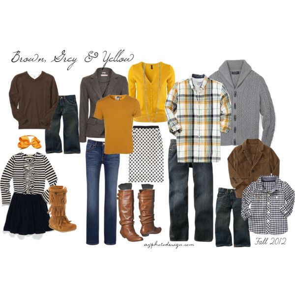 Brown, Grey & Yellow (Fall 2012) - What to wear for family photo shoot - ayphotodesign Polyvore