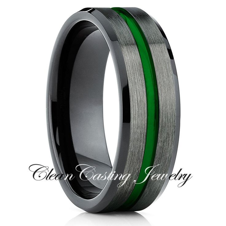 Black Green Tungsten Wedding Band,Tungsten Wedding Ring,Tungsten Carbide Ring,Gunmetal Green Tungsten Ring,Anniversary,Engagement Ring - Clean Casting Jewelry