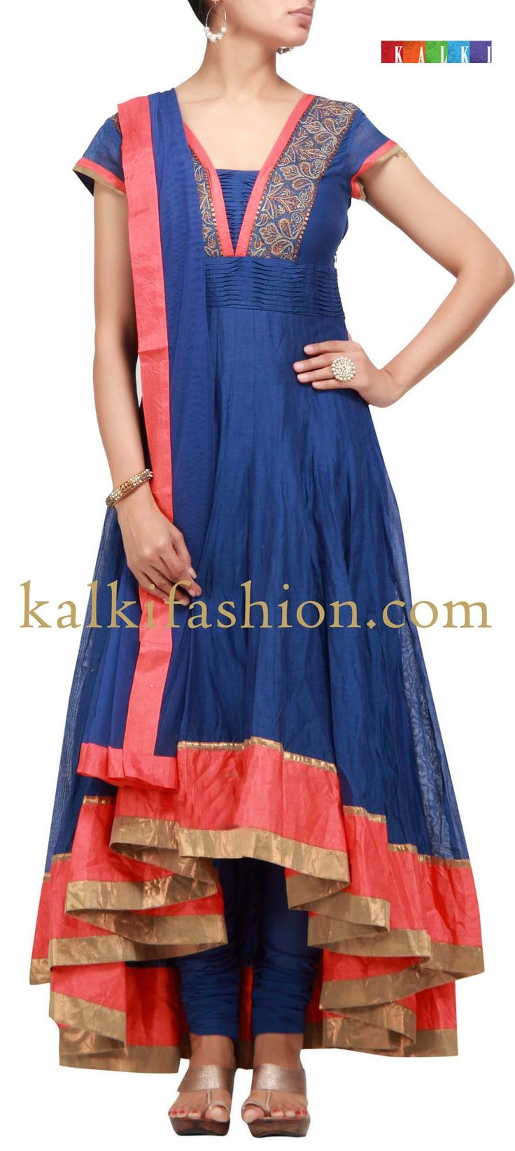 Buy it now  http://www.kalkifashion.com/blue-anarkali-suit-with-tail-cut.html  Blue anarkali suit with tail cut