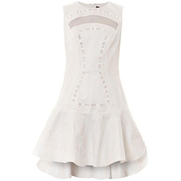 ROBERT RODRIGUEZ Kuba embroidered dress ($502) ❤ liked on Polyvore featuring dresses, white, cocktail dresses, white cutout dresses, short white skirt, special occasion dresses and white cut out dress