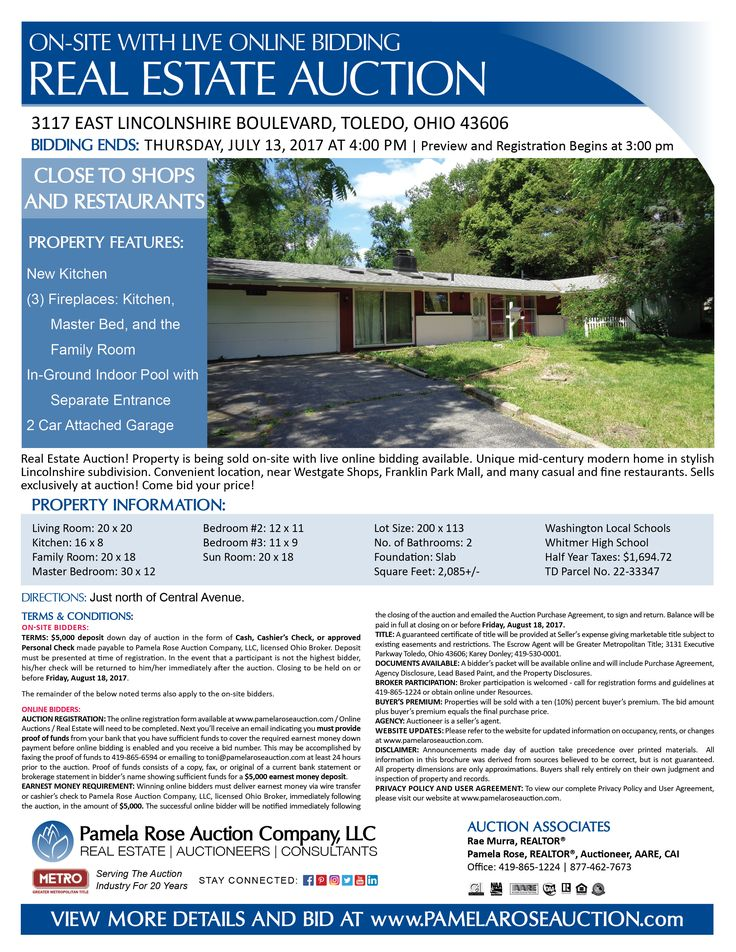 West Toledo Auction of Mid-Century Modern Home  COMING SOON! 3117 East Lincolnshire Boulevard, Toledo, Ohio 43606 on Thursday, July 13, 2017 at 4:00 pm. Unique mid-century modern home in stylish Lincolnshire neighborhood with 2,085+/- square feet, 3 beds, 2 baths, 3 fireplaces, in-ground indoor pool, large lot, and a 2 car attached garage. This property is being sold on-site with live online bidding available. View more details online. Pamela Rose Auction Company, LLC.