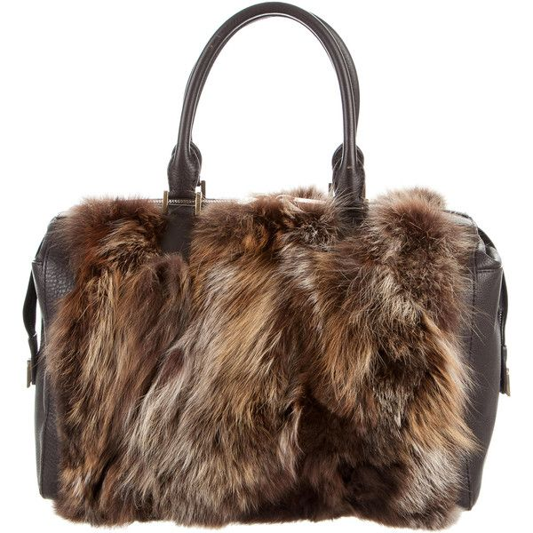 Pre-owned Michael Kors Leather-Trimmed Fur Tote ($395) ❤ liked on Polyvore featuring bags, handbags, tote bags, brown, michael kors handbags, zipper tote, tote handbags, brown purse and brown tote