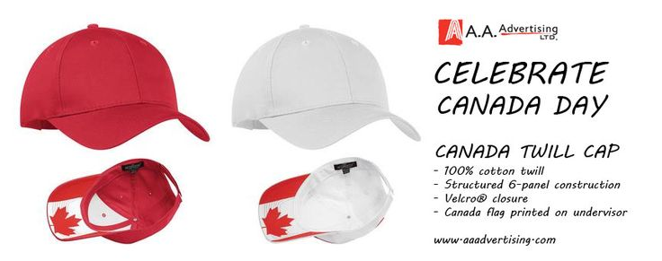 Celebrate Canada Day with these caps with canadian flag pre-printed under the brim.. just add your logo and par-tay!