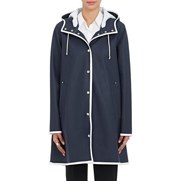 Stutterheim Raincoats Women's Mosebacke Raincoat ($395) ❤ liked on Polyvore featuring outerwear, coats, fur-lined coats, lined raincoat, water resistant coat, mac coat and lined rain coat