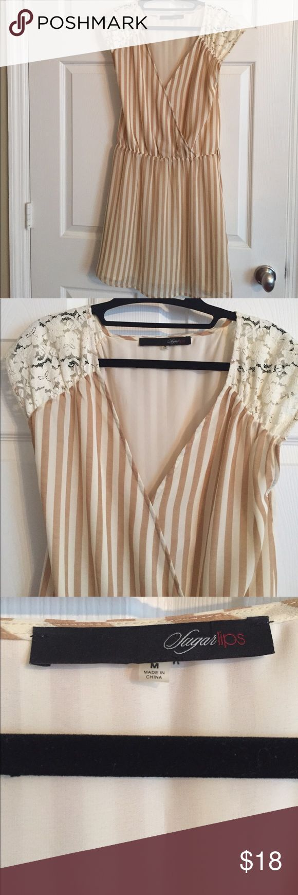 Cream Striped Dress Purchased from Nordstrom. Has belt loops as well to finish the look! Delicate and soft combo with lace sleeves. Great dress to wear to work or a night out! Item is lined. sugar lips Dresses Mini