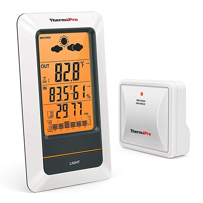 Thermopro Tp67 Weather Station Wireless Indoor Outdoor Thermometer Digital Hygrometer Barometer With Cold Resist Outdoor Thermometer Weather Station Hygrometer