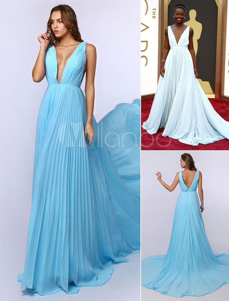 Celebrity Dresses Aqua Evening Dress Plunge Neck Celebrity ...