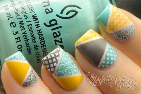 Awesome design: Nails Stamps, Teal Yellow, Colors Combos, Nails Art, Nailart, China Glaze, Nailpolish, Geometric Nails, Nails Polish