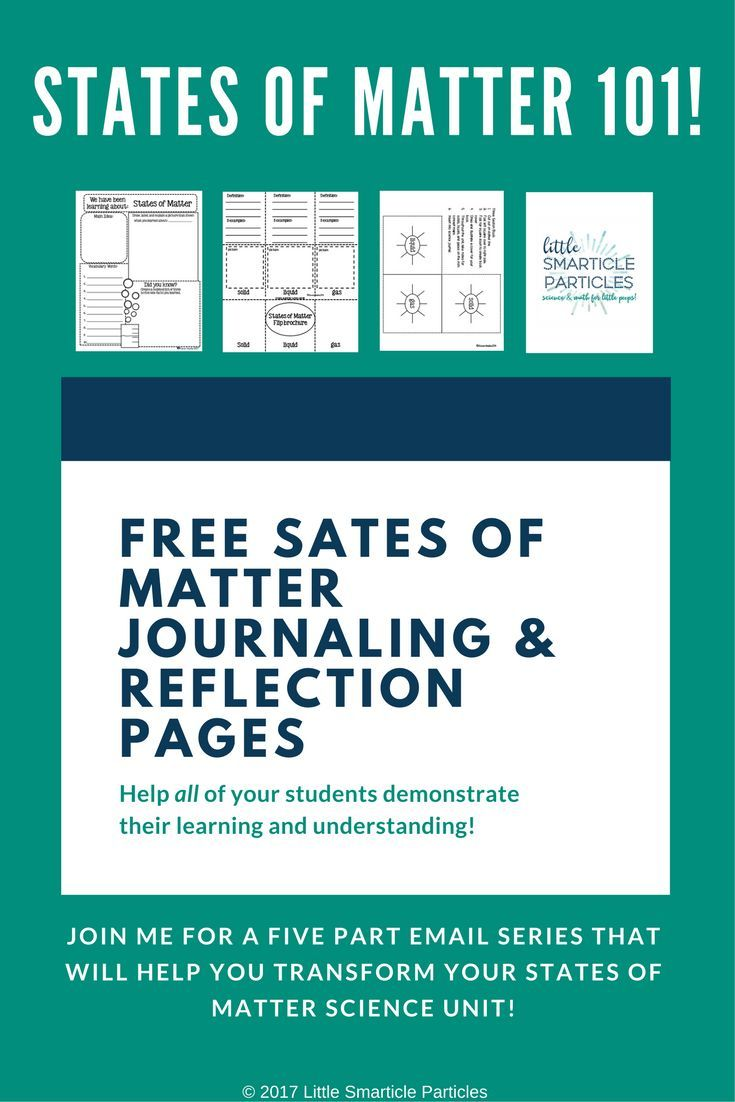 Free States of Matter Journaling and Reflection Pages!