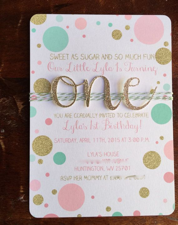 Unique Handmade Invitations Birthday Ideas On Pinterest - First birthday invitations girl pink and gold