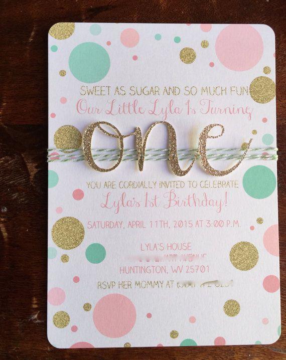 Primera invitación de cumpleaños. Oro una por PenelopeandLala