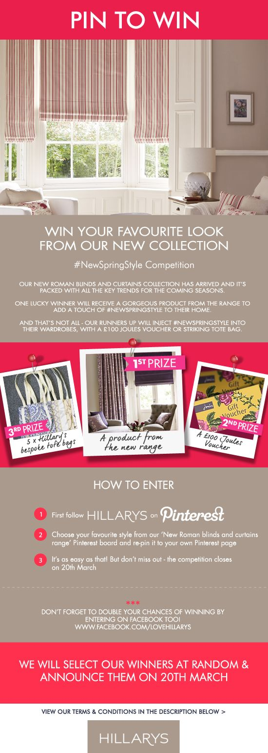 Pin your favourite style from our new collection for your chance to win. First prize is a product from our new range. Second prize is a £100 Joules voucher. Third Prize is one of 5 bespoke tote bags made from our fabulous fabric. You can double your chances of winning too by entering on our Facebook app: http://a.pgtb.me/XVnQtW Terms and conditions…