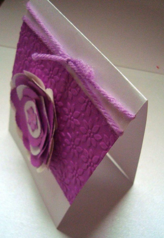 Purple Lavender dimensiona Flower white embossed by Wcards on Etsy, $3.00