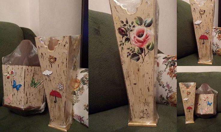 Mum eskitme tekniği ile ahşap boyama şemsiyelik ve posta kutum :)