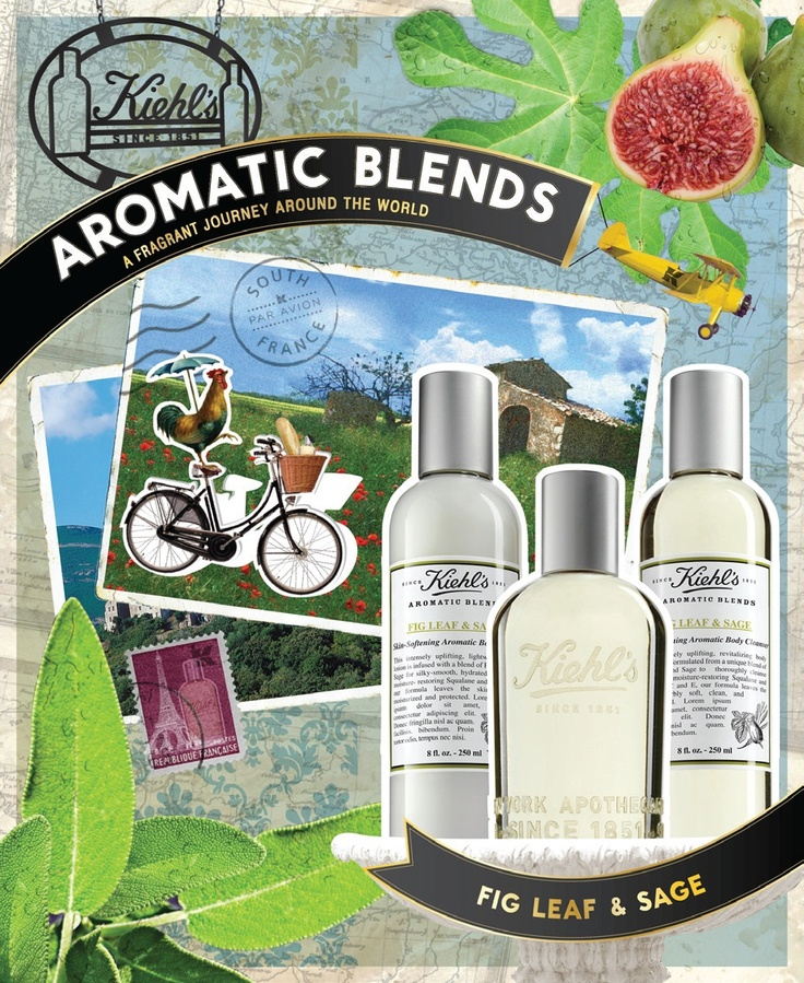 #Kiehls #AromaticBlends Fig Leaf & Sage, complete with a fragrance, skin–softening body cleanser and lotion, is inspired by the lush French countryside.