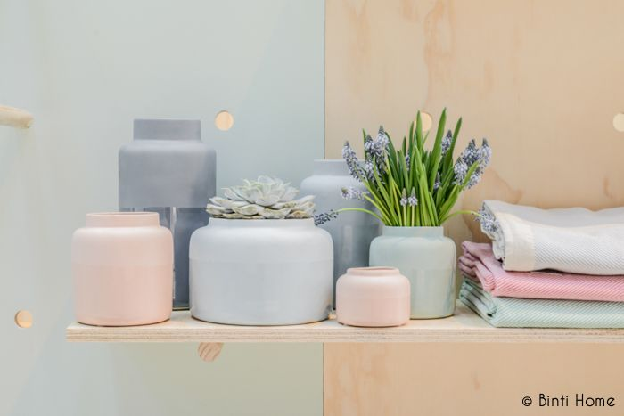 Pastel vases in softpink, blue and grey from #festamsterdam at #showup #styling #pastelstyling #pastelhome