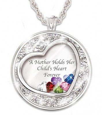 A Mother Holds Her Child's Heart Forever Birthstone Necklace with Names