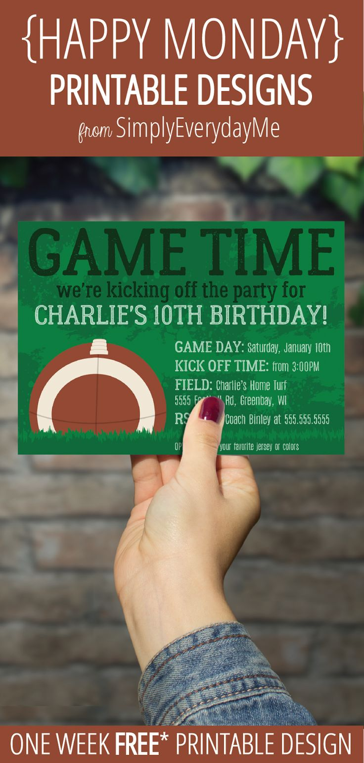 Your weekly free* {HAPPY MONDAY} printable design from SimplyEverydayMe // Football Party Invitation // Simply edit text using Adobe Reader with your party info, print, create and share... it's that easy! *New to {HAPPY MONDAY}... see details about *free printables here... SimplyEverydayMe... playful party printables... print.create.share #happymonday #SimplyEverydayMe #footballparty #superbowlparty