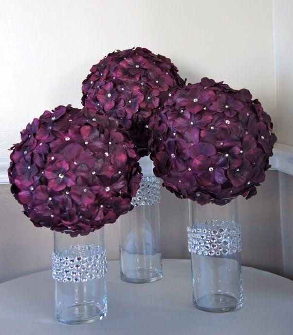 Centerpieces?: Centerpiece Ideas, Vase, Flower Ball, Wedding Ideas, Purple Flowers, Centerpieces