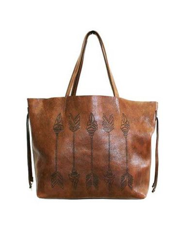 Brown Leather Arrow Tote