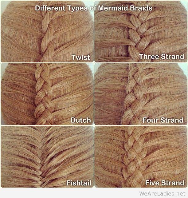 Different types of mermaid braids