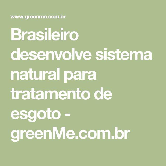 Brasileiro desenvolve sistema natural para tratamento de esgoto - greenMe.com.br