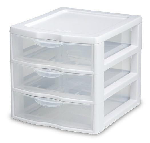 Sterilite 20738006 Small 3 Drawer Unit 8 1 2 X 7 1 4 X 6 7 8 Plastic Storage Drawers Drawer Unit Storage Drawers
