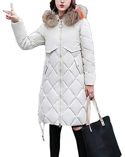 Yonglan Donna Piumino Parka Inverno Cappotto con Cappuccio Caldo Giubbotto  Lungo Trapuntata Giacca Bianco 2XL 3d5e81664cc