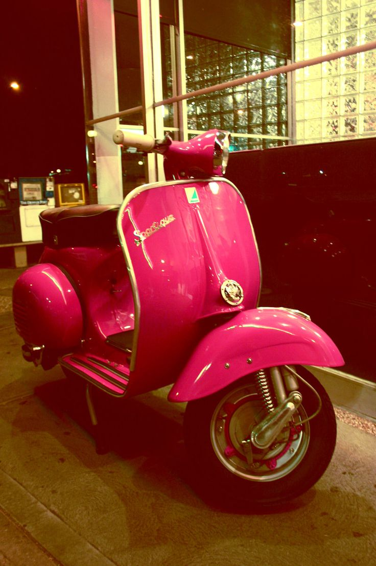 Vintage Pink Moped!! This would be great for peg. :)