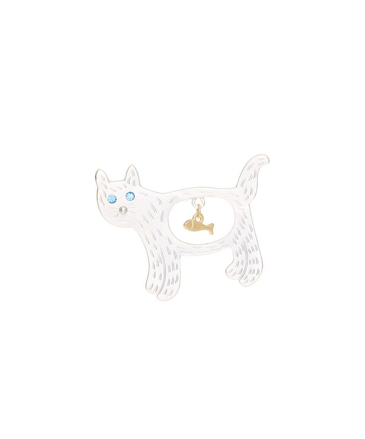 Take a look at this Frankie & Stein Silvertone Cat Brooch today!