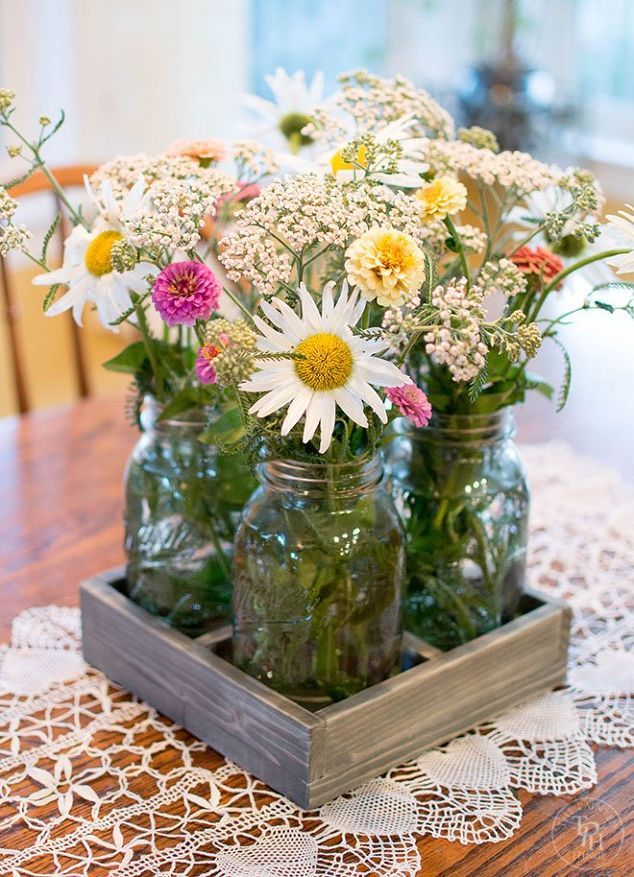 59 Incredibly Simple Rustic Décor Ideas That Can Make Your: Mason Jar Centerpiece For Your Dining Table