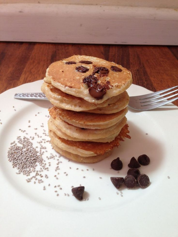 Healthy Kid Friendly Chia Choc Chip Pancakes that will be enjoyed by that whole…